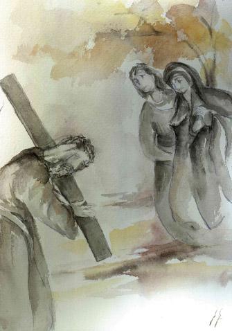 MARÍA SE ENCUENTRA CON JESÚS CAMINO  AL CALVARIO